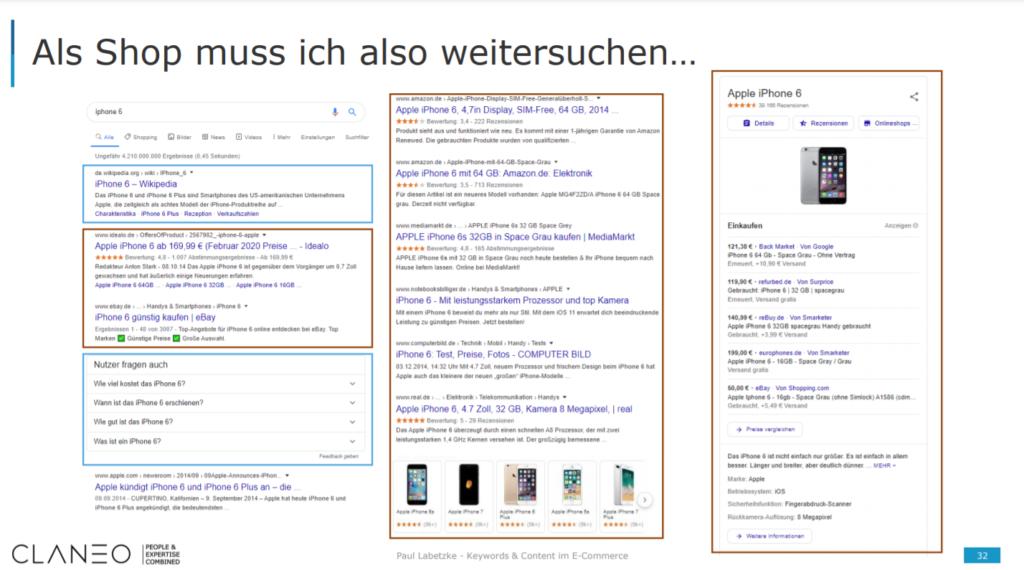 """Verschiedene Content-Formate bei Google die bei einer Suche nach dem Begriff """"iPhone 6"""" auftauchen."""