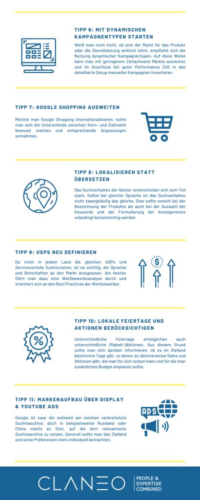 Infografik: 15 Tipps zur Internationalisierung im SEA - Tipp 6 bis 11