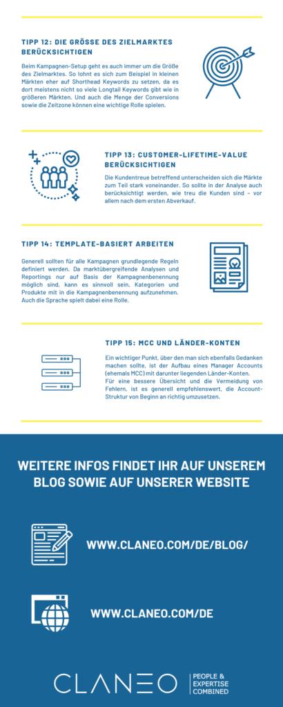 Infografik: 15 Tipps zur Internationalisierung im SEA - Tipp 12 bis 15