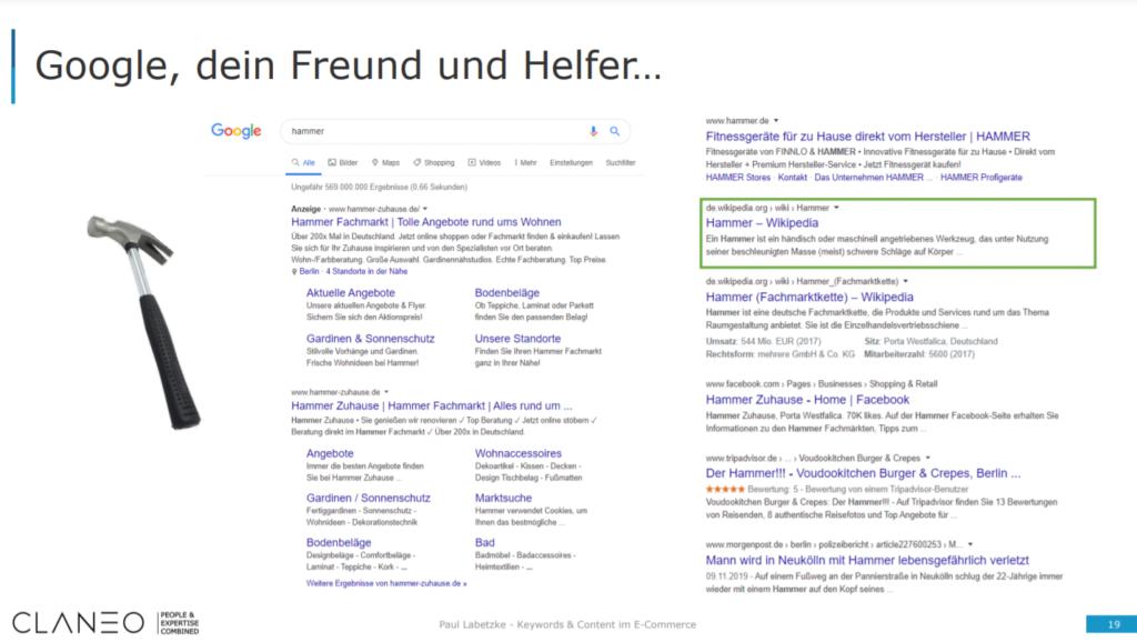 """Suchergebnisse bei Google für den Begriff """"Hammer""""."""