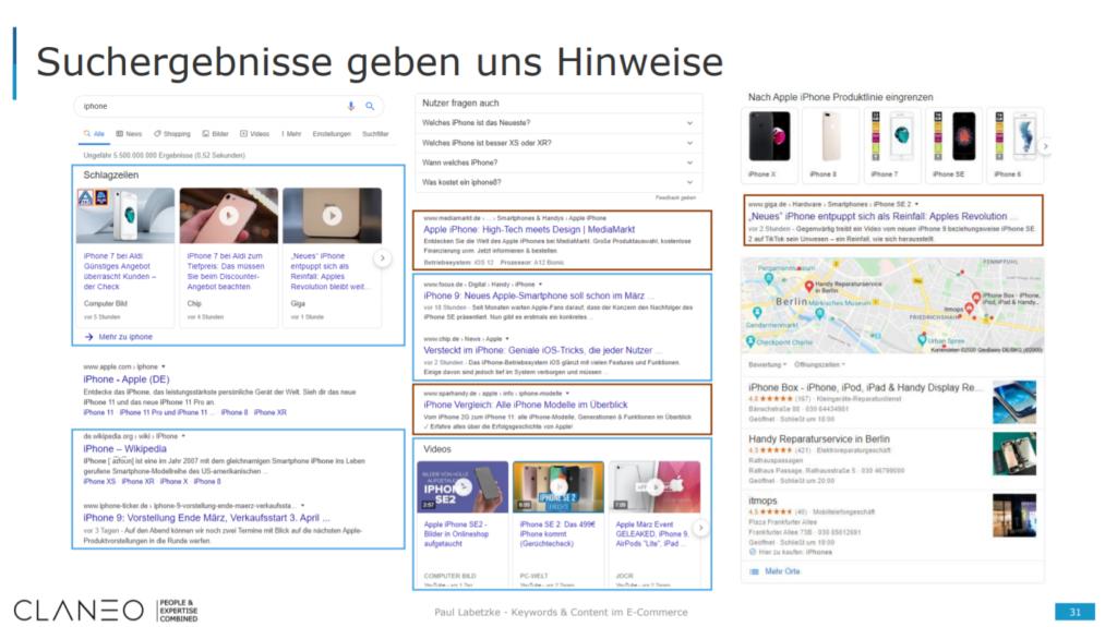 """Verschiedene Content-Formate bei Google die bei einer Suche nach dem Begriff """"iPhone"""" auftauchen."""