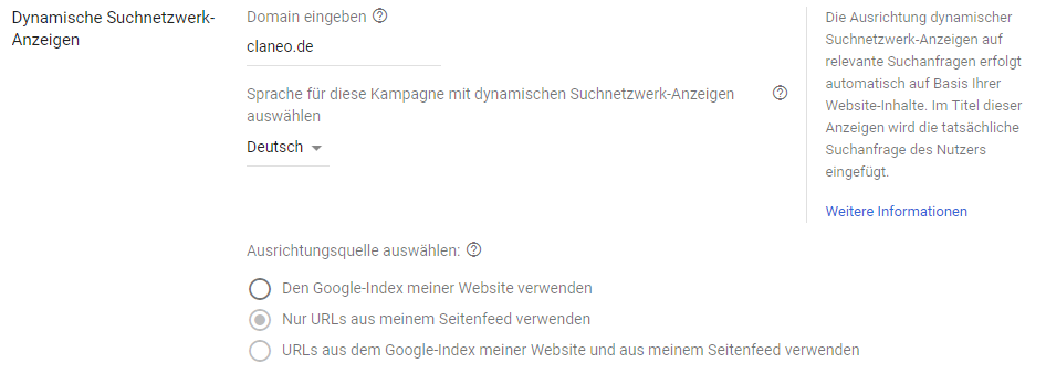 Einstellungen für Dynamic Search Ads auf Kampagnen-Ebene.