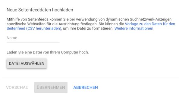 """Upload des Seitenfeeds im Bereich """"Geschäftsdaten"""""""