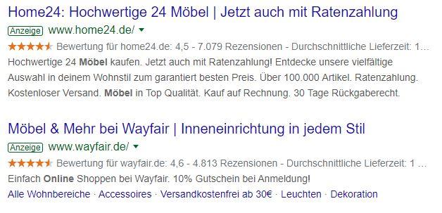Home24 und Wayfair werben bei Google mit Käuferbewertungen in Form von Sternen.