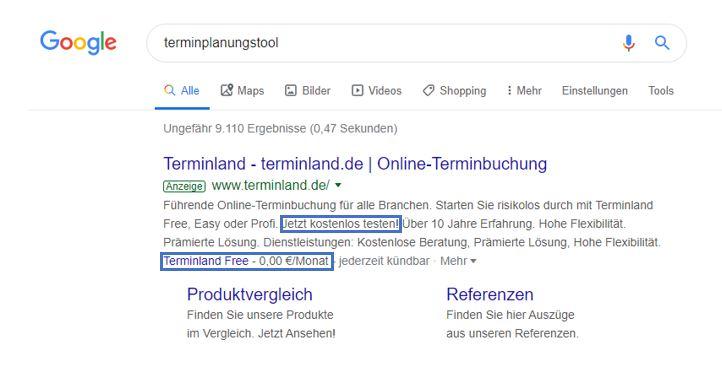 terminland.de wirbt mit kostenlosen Testversionen.