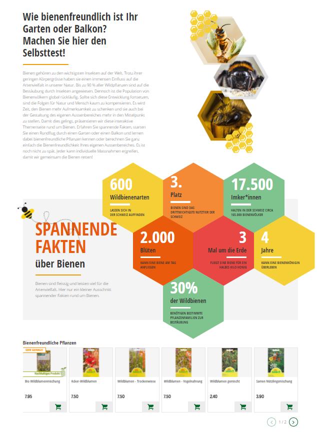 Ausschnitt der Landingpage des Schweizer Baumarktes Coop Bau+Hobby zum Weltbienentag.