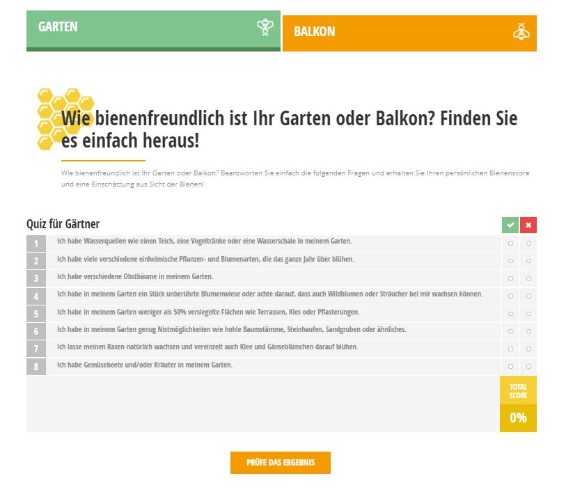 Auf der Landingpage integriertes Quiz, das Besucher:innen der Seite dabei hilft herauszufinden, wie bienenfreundlich ihr Balkon oder Garten ist.