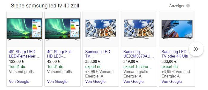 Google Shopping Anzeigen für Samsung Fernseher