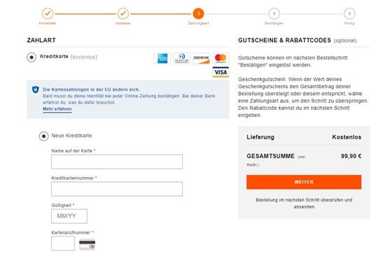 Die Progress Bar während des Kaufprozesses auf einer Online-Shopping-Plattform.