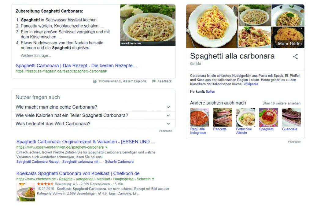 """SERP zum Suchbegriff """"Spaghetti Carbonara""""."""