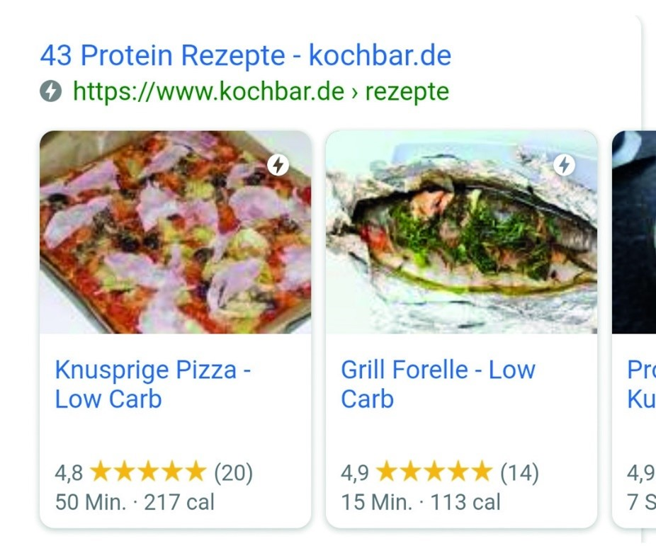 "Google-Mobile-Suche nach ""Protein Rezepte"" mit Carousel."