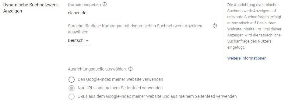 Einstellungen für Dynamic Search Ads auf Kampagnen-Ebene