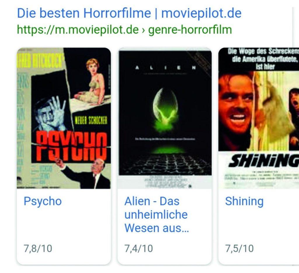 """Rich Cards zum Thema """"Horrorfilme""""."""