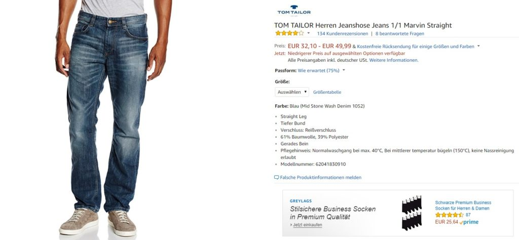 Product Display Ads für Greylags Socken bei einer Tom Tailor Jeans