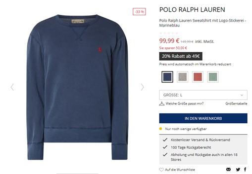 Ein Pullover in einem Online-Shop.
