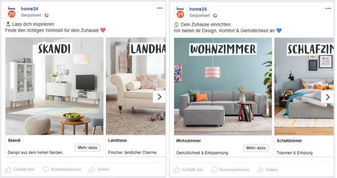 Facebook Karussellanzeigen von home24