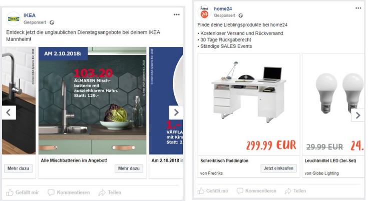 Facebook Produktanzeigen von IKEA und home24