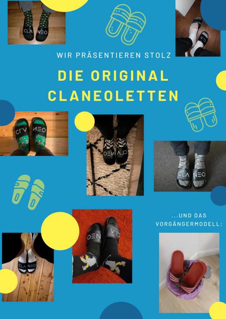 Bilder unserer Kolleg:innen mit ihren Claneoletten.
