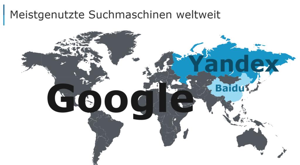 Weltkarte anhand derer erkennbar wird, in welchem Land welche Suchmaschine dominiert.