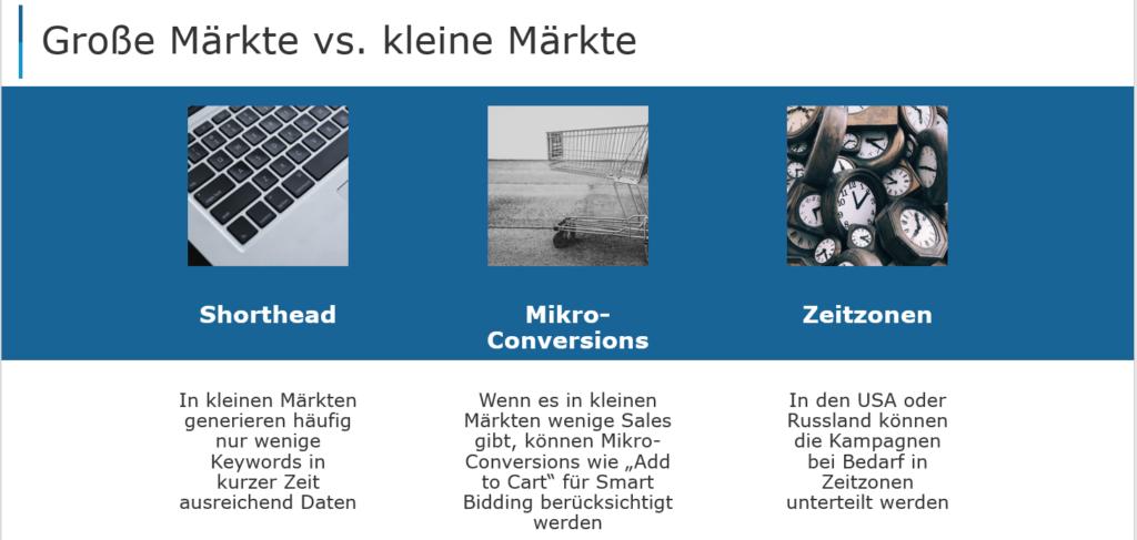 Große und kleine Märkte müssen unterschieden werden, beispielsweise in Bezug auf Keywords, Sales und Zeitzone.