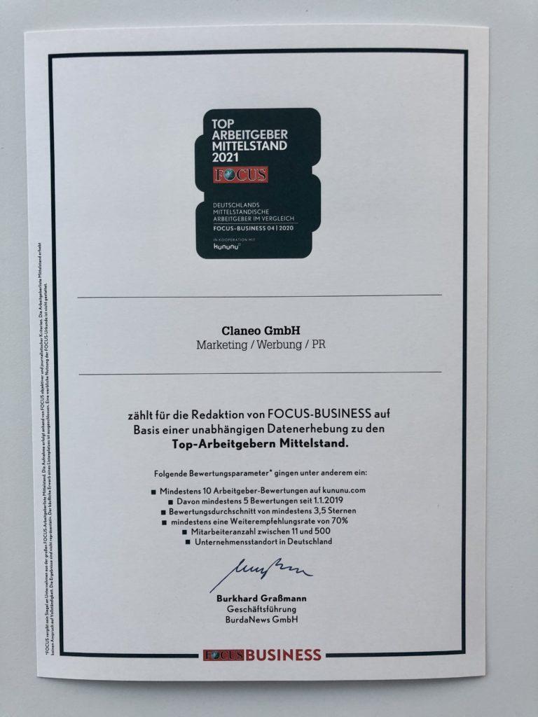 "Zertifikat ""Top Arbeitgeber Mittelstand 2021"""