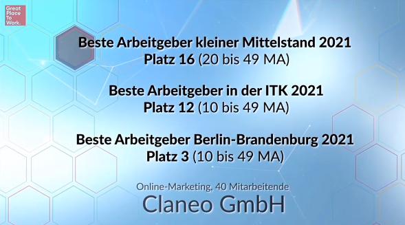 Claneo belegte Platz 16 als kleiner Mittelstand, Platz 12 in der ITK und Platz 3 in Berlin-Brandenburg.