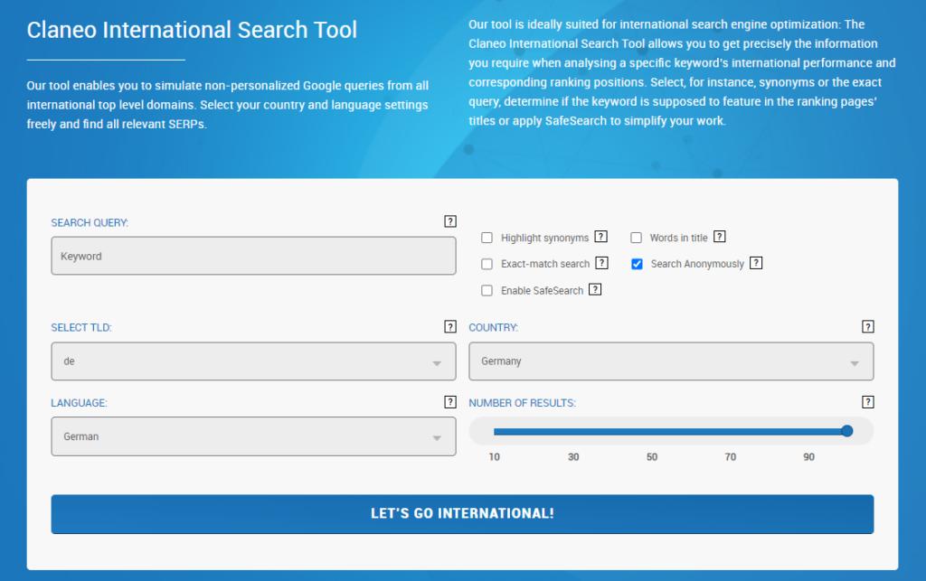 Das Claneo International Search Tool.