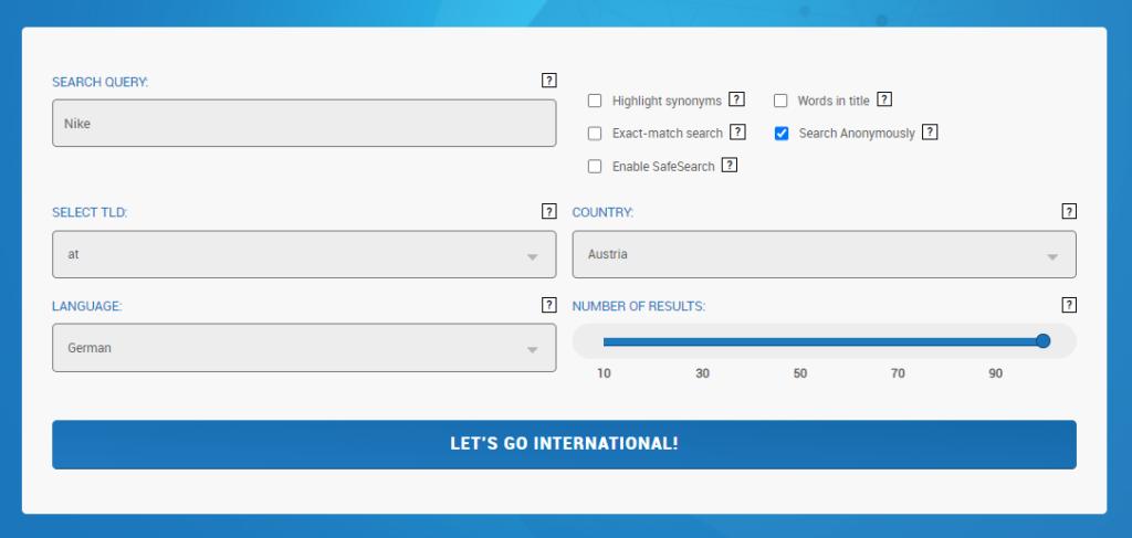 Eine Suchanfrage im International Search Tool.