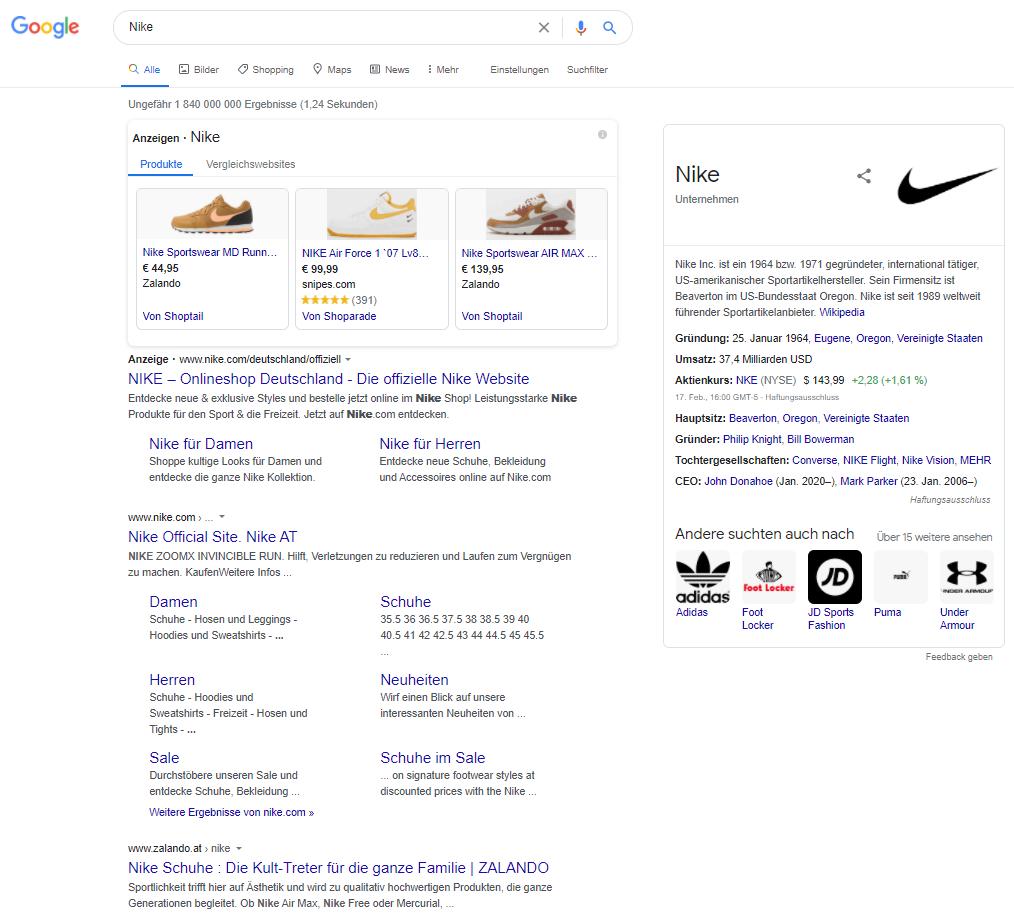 Suchergebnisse bei Google für Nike in Österreich.