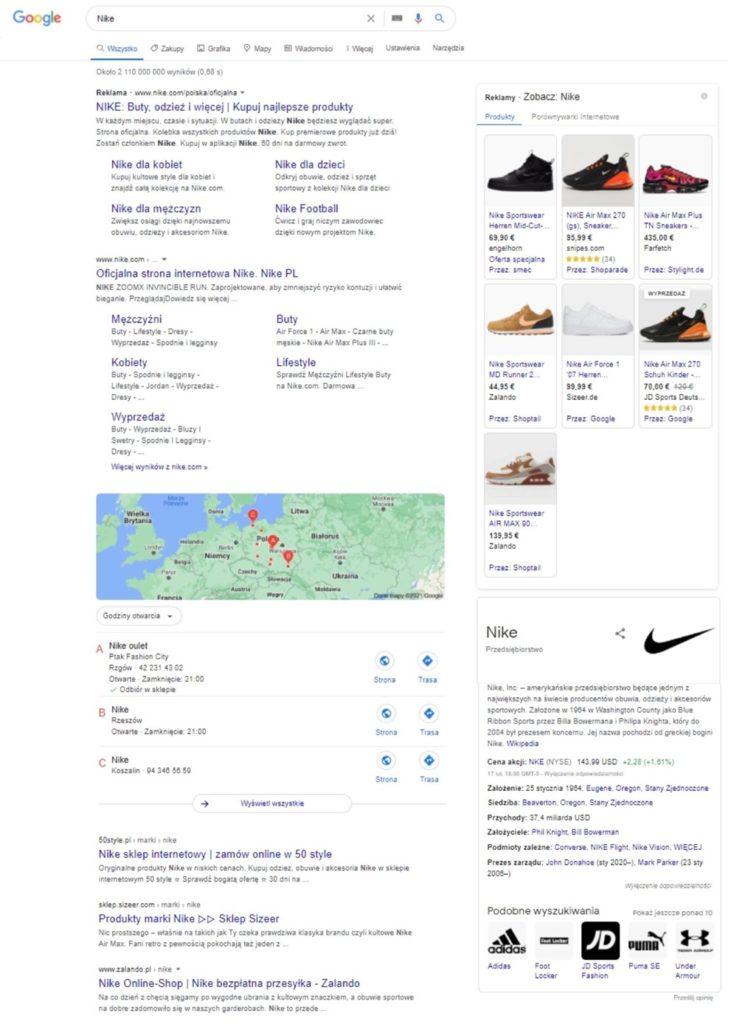 Suchergebnisse bei Google für Nike in Polen.